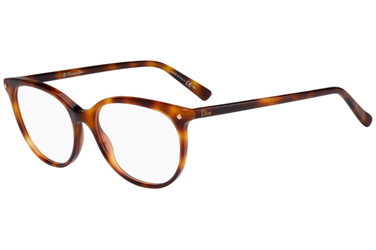 Dior CD3284 05L. Frame color: Havana, Lens color: Crystal, Frame shape: Round