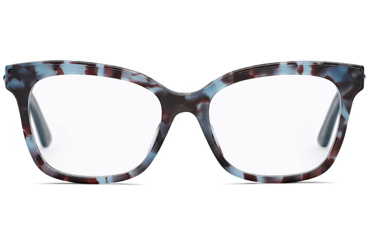 Dior Montaigne 37 TFW. Frame color: Blue, Lens color: Crystal, Frame shape: Cat Eye