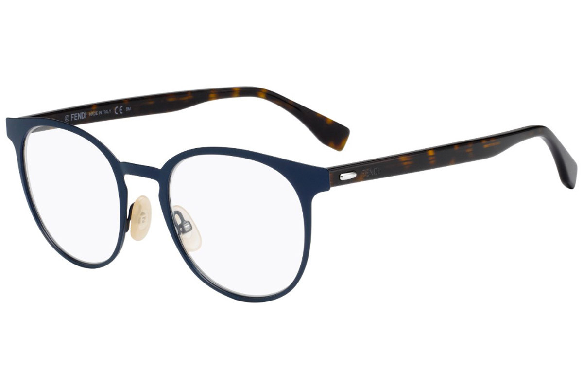 Fendi FFM0009 RCT. Frame color: Blue, Lens color: Crystal, Frame shape: Round