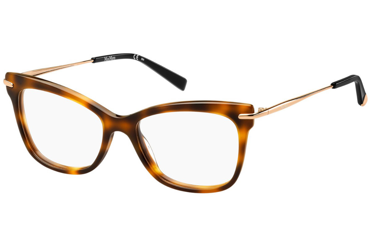 Max Mara MM1309 581. Frame color: Havana, Lens color: Crystal, Frame shape: Squared