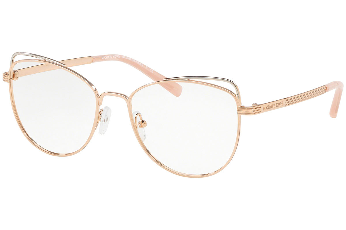 Michael Kors Santiago MK3025 1108. Frame color: Zlatni, Lens color: Kristalni, Frame shape: Cat Eye