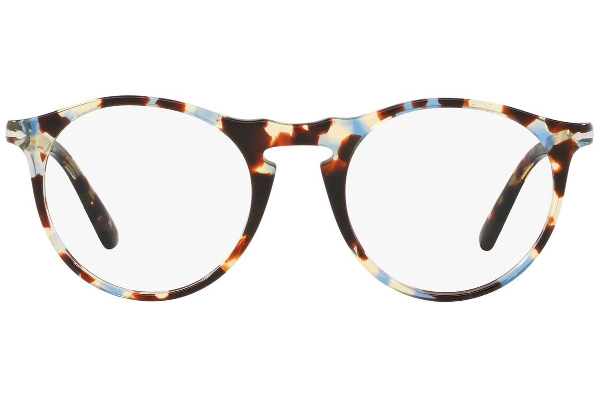 Persol 649 Series PO3201V 1058. Frame color: Brown, Lens color: Crystal, Frame shape: Round