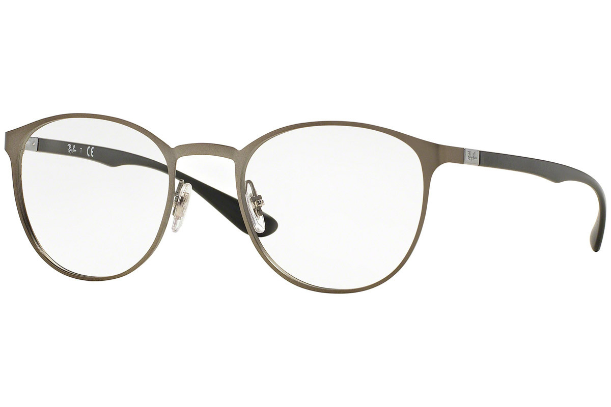 Ray-Ban RX6355 2620. Frame color: Grey, Lens color: Crystal, Frame shape: Round