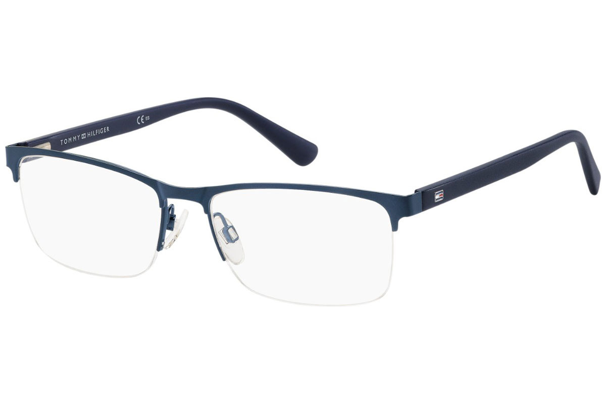 Tommy Hilfiger TH1528 PJP. Frame color: Blue, Lens color: Crystal, Frame shape: Rectangular
