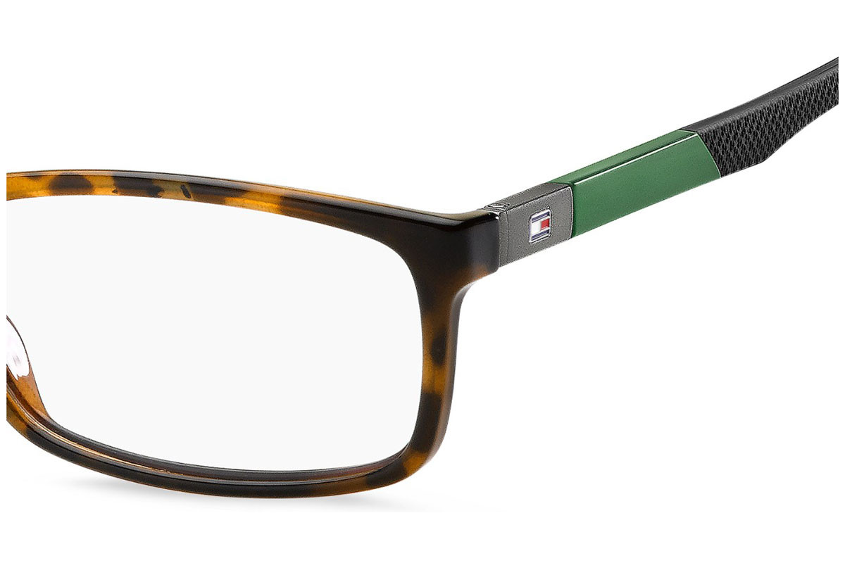 Tommy Hilfiger TH1639 086. Frame color: Havana, Lens color: Crystal, Frame shape: Rectangular