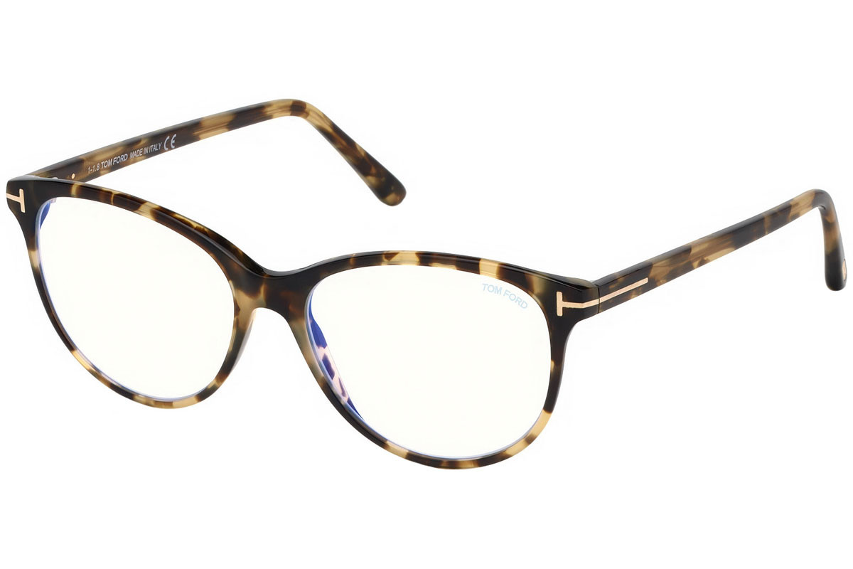 Tom Ford FT5544-B 055. Frame color: Havanna, Lens color: Kristall, Frame shape: Cat Eye
