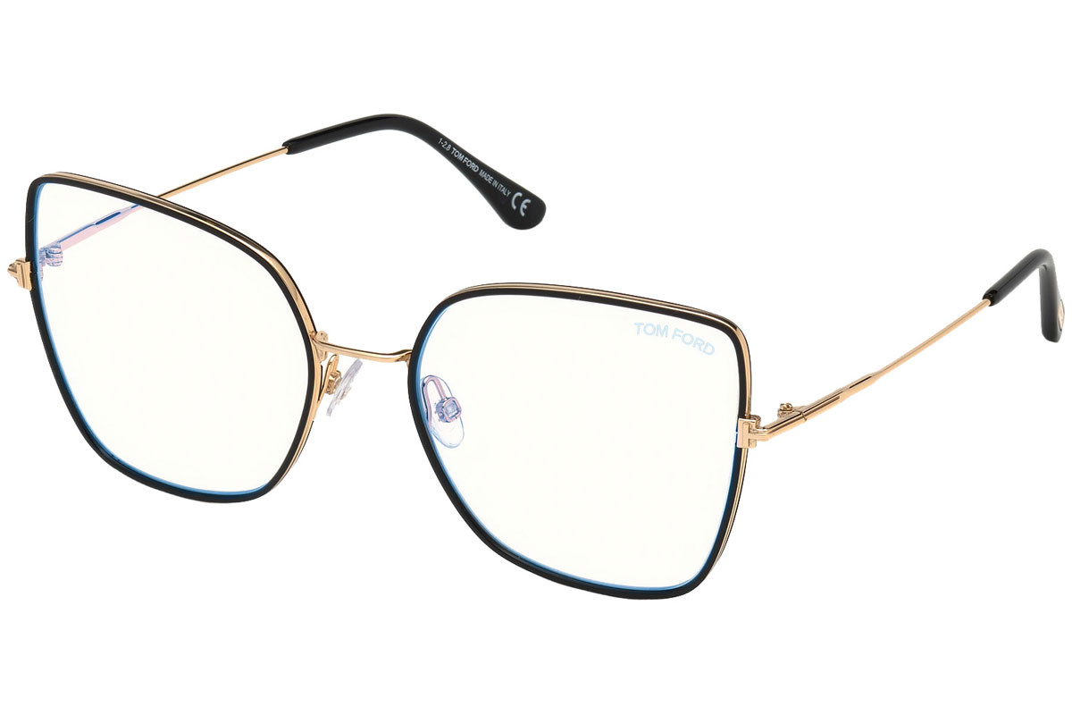 Tom Ford FT5630-B 001. Frame color: Schwarz, Lens color: Kristall, Frame shape: Cat Eye