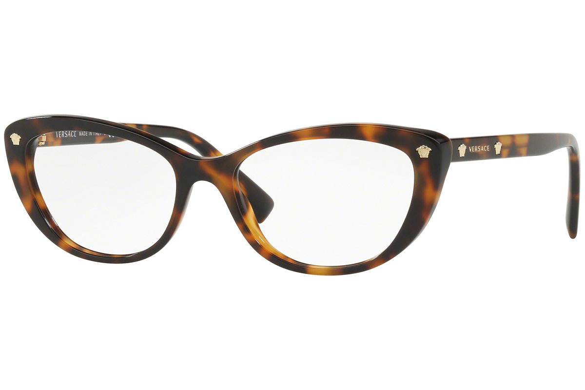 Versace VE3258 5267. Frame color: Havana, Lens color: Crystal, Frame shape: Cat Eye