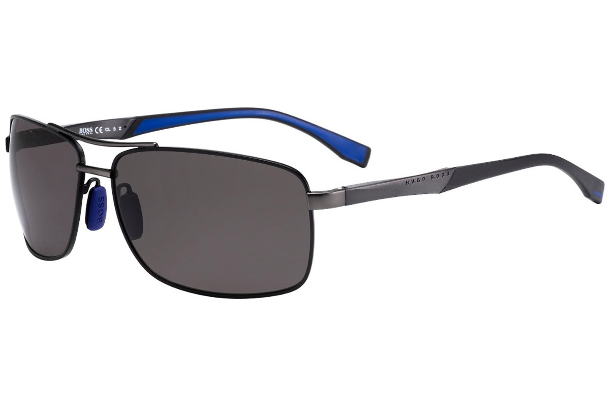 BOSS by Hugo Boss BOSS0697/P/S AAB/6C Polarized. Frame color: Black, Lens color: Grey, Frame shape: Pilot