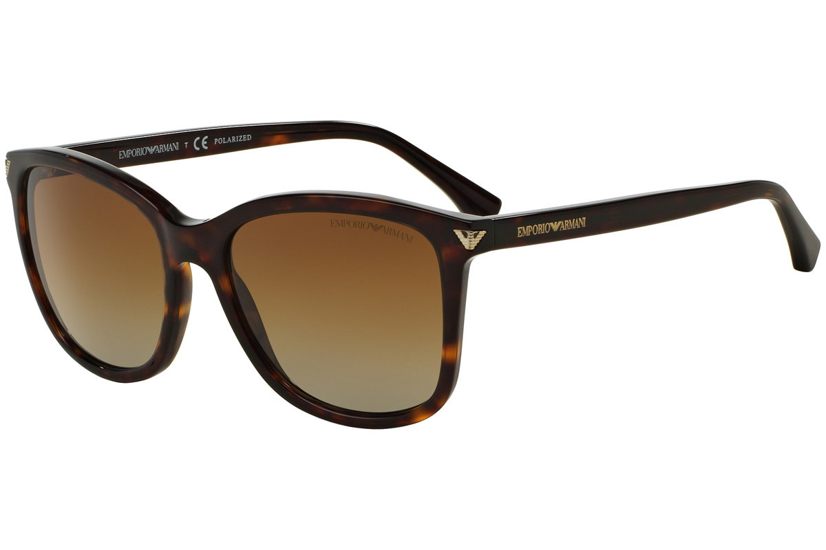 Emporio Armani EA4060 5026T5 Polarized. Frame color: Havanna, Lens color: Braun, Frame shape: Quadratisch