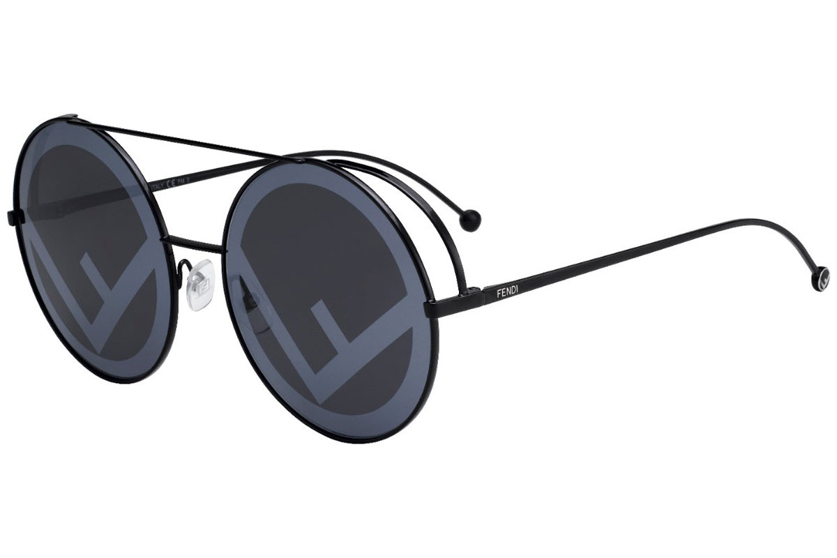 Fendi FF0285/S 807/MD. Frame color: Black, Lens color: Grey, Frame shape: Round
