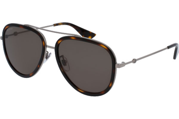 Gucci GG0062S 002. Frame color: Havanna, Lens color: Grün, Frame shape: Pilot