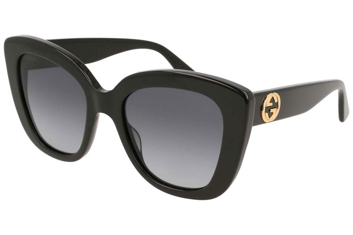 Gucci GG0327S 001. Frame color: Black, Lens color: Grey, Frame shape: Cat Eye