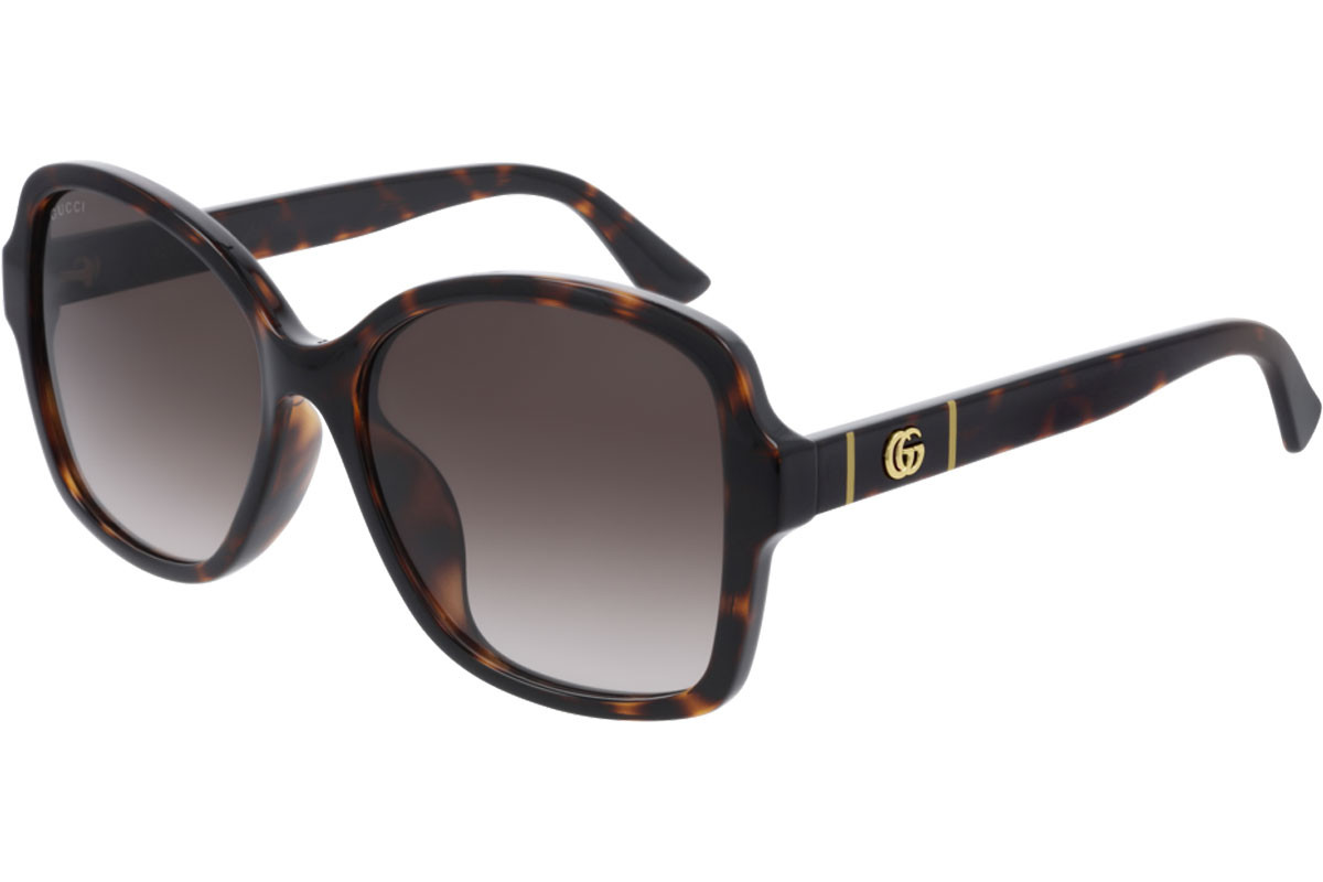 Gucci GG0765SA 003. Frame color: Havanna, Lens color: Braun, Frame shape: Quadratisch