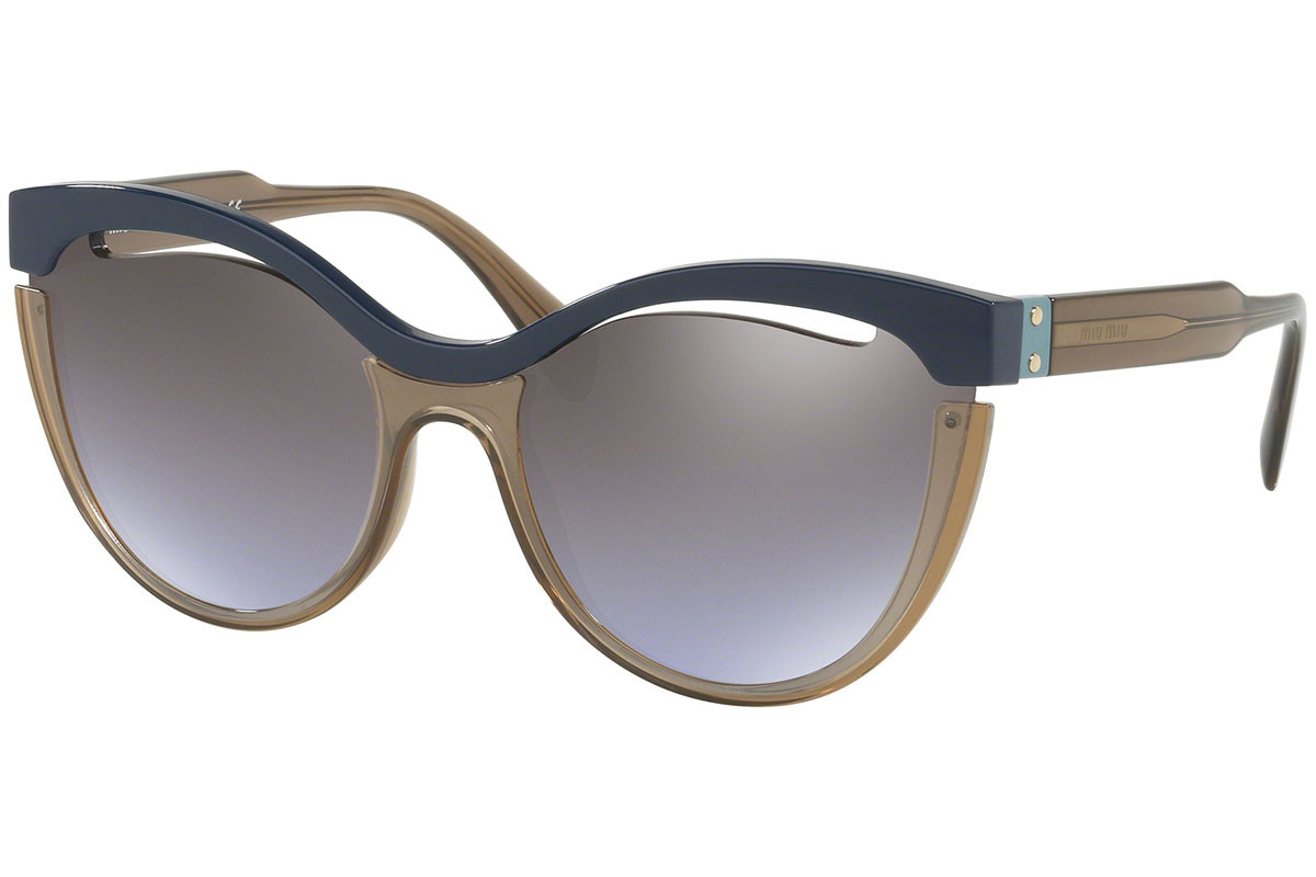 Miu Miu MU01TS UE62H2. Frame color: Blue, Lens color: Purple, Frame shape: Cat Eye