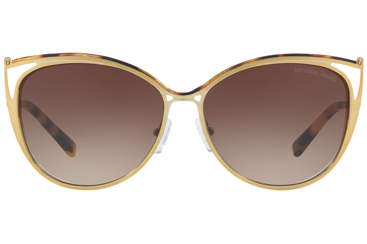 Michael Kors Ina MK1020 116313. Frame color: Gold, Lens color: Brown, Frame shape: Cat Eye
