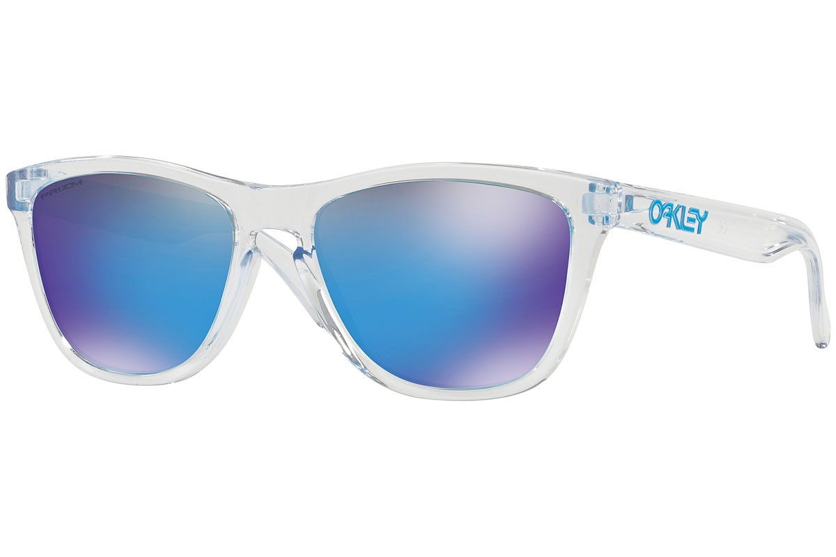 Oakley Frogskins OO9013-D0 PRIZM. Frame color: Crystal, Lens color: Blue, Frame shape: Squared