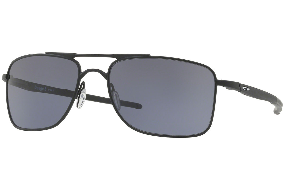 Oakley Gauge 8 OO4124-01. Frame color: Schwarz, Lens color: Grau, Frame shape: Rechteck