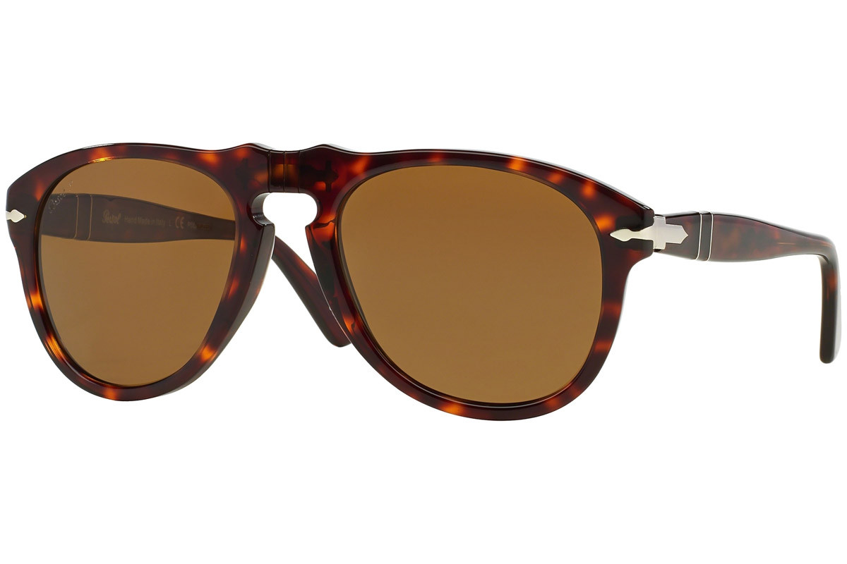 Persol 649 Series PO0649 24/57 Polarized. Frame color: Хавана, Lens color: Кафява, Frame shape: Пилотни