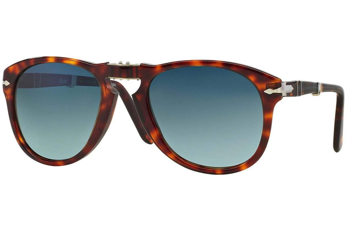 Persol Folding 714 Series PO0714 24/S3 Polarized. Frame color: Хавана, Lens color: Синя, Frame shape: Пилотни