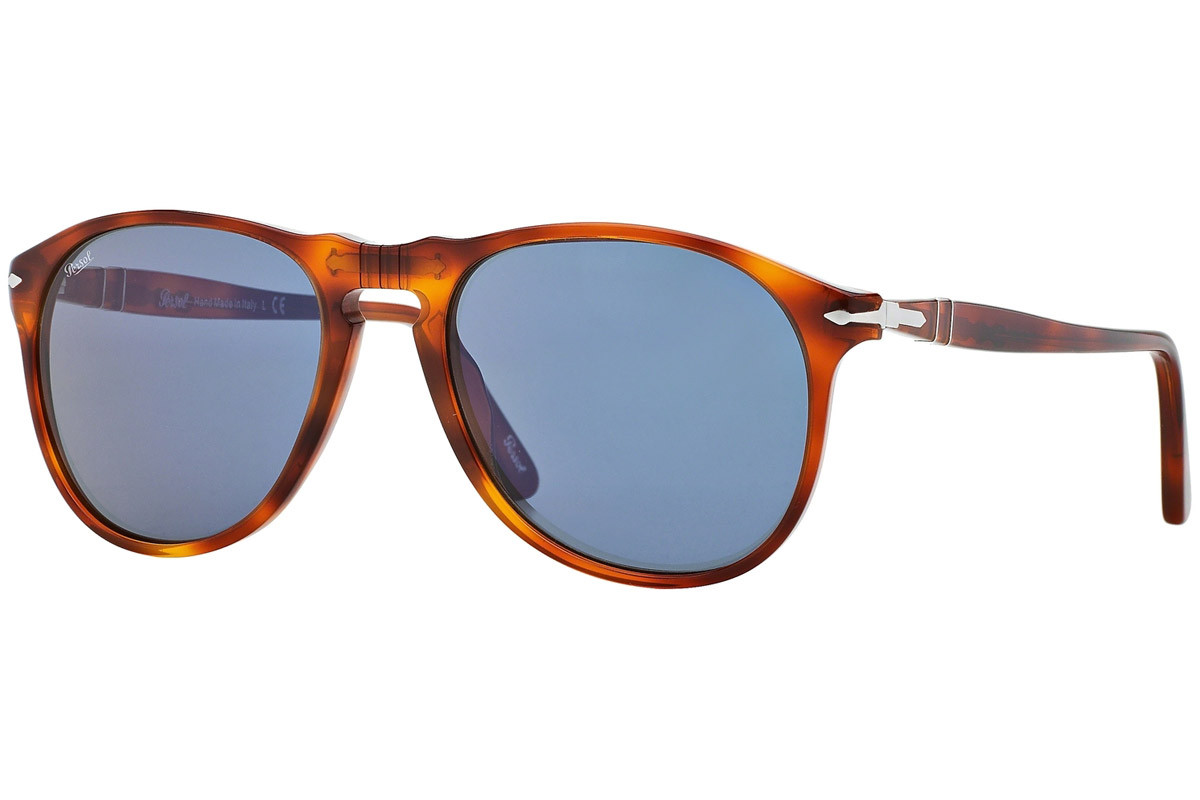 Persol 649 Series PO9649S 96/56. Frame color: Havana, Lens color: Blue, Frame shape: Pilot