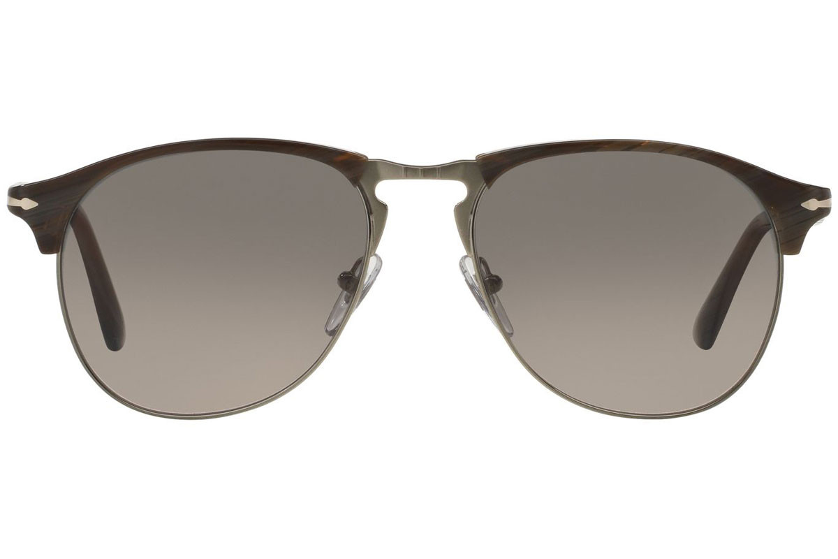 Persol 649 Series PO8649S 1045M3 Polarized. Frame color: Brown, Lens color: Green, Frame shape: Pilot