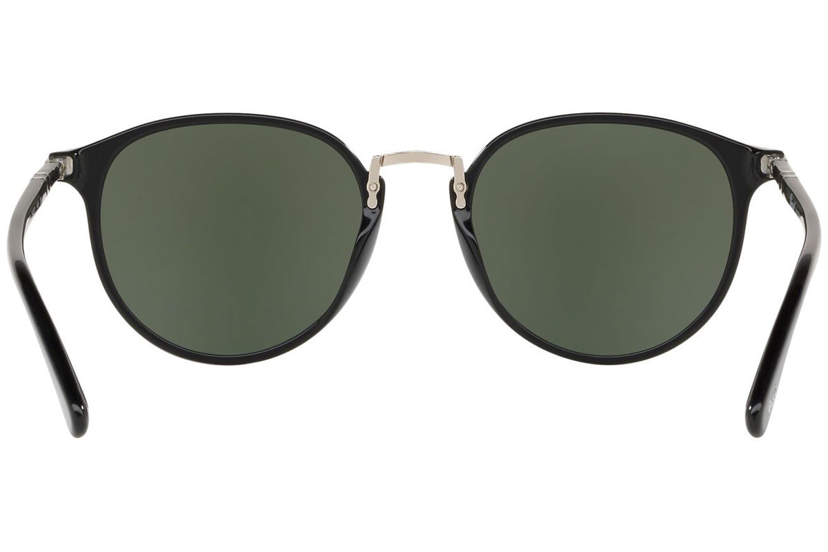 Persol Typewriter Edition PO3210S 95/31. Frame color: Črna, Lens color: Zelena, Frame shape: Okrogla