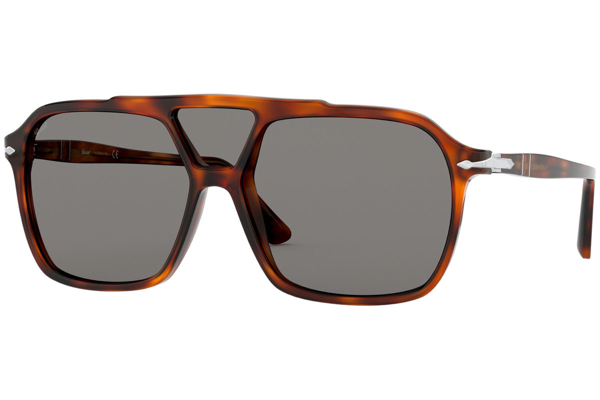 Persol PO3223S 1101R5. Frame color: Brown, Lens color: Grey, Frame shape: Flat Top