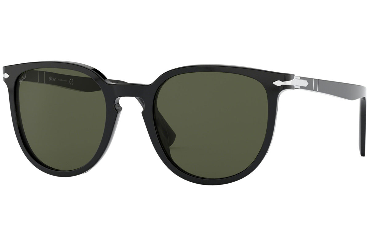 Persol Galleria '900 Collection PO3226S 95/31. Frame color: Black, Lens color: Green, Frame shape: Squared