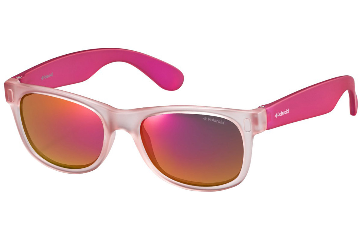 Polaroid Junior P0115 MZF/OZ Polarized. Frame color: Pink, Lens color: Red, Frame shape: Squared