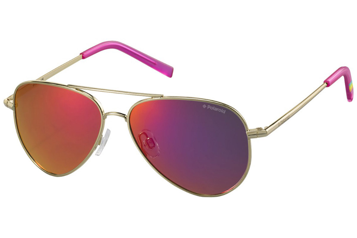Polaroid Junior PLD8015/N J5G/AI Polarized. Frame color: Gold, Lens color: Grau, Frame shape: Pilot