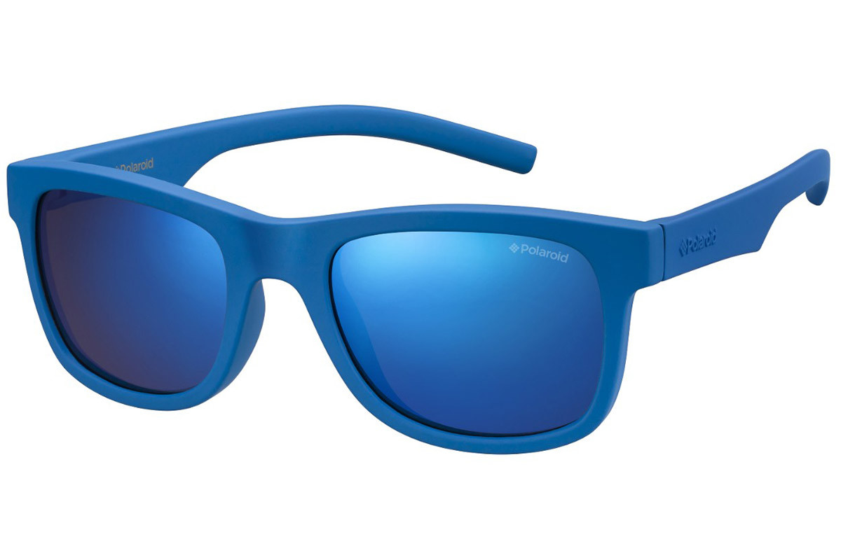 Polaroid Junior PLD8020/S ZDI/JY Polarized. Frame color: Blue, Lens color: Blue, Frame shape: Rectangular