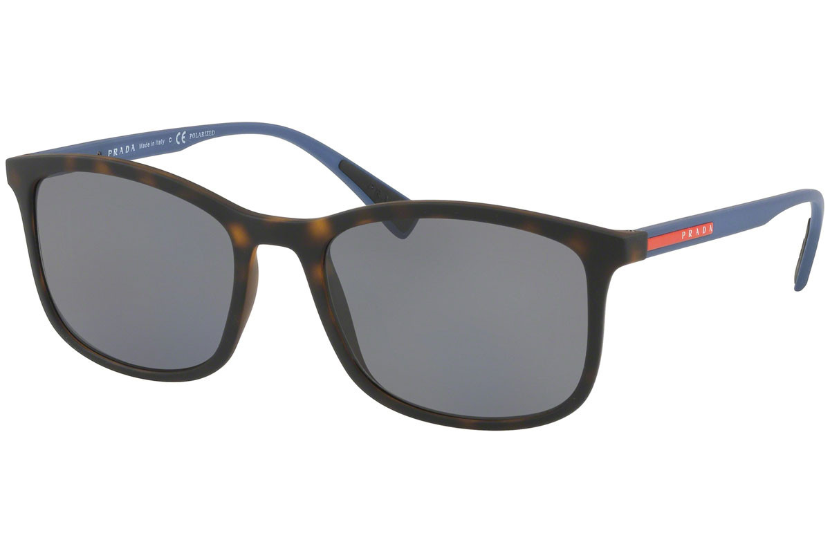 Prada Linea Rossa PS01TS U61144 Polarized. Frame color: Havana, Lens color: Grey, Frame shape: Squared