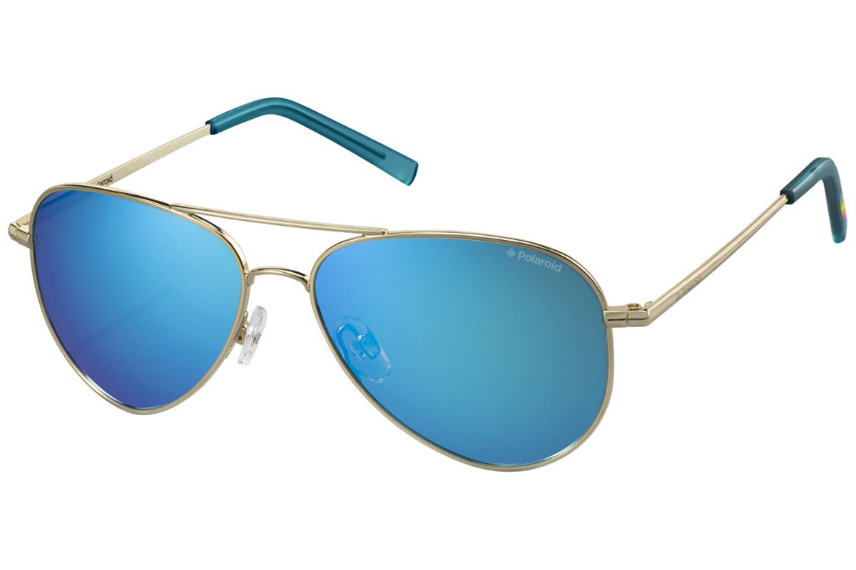 Polaroid PLD6012/N J5G/JY Polarized. Frame color: Gold, Lens color: Blue, Frame shape: Pilot