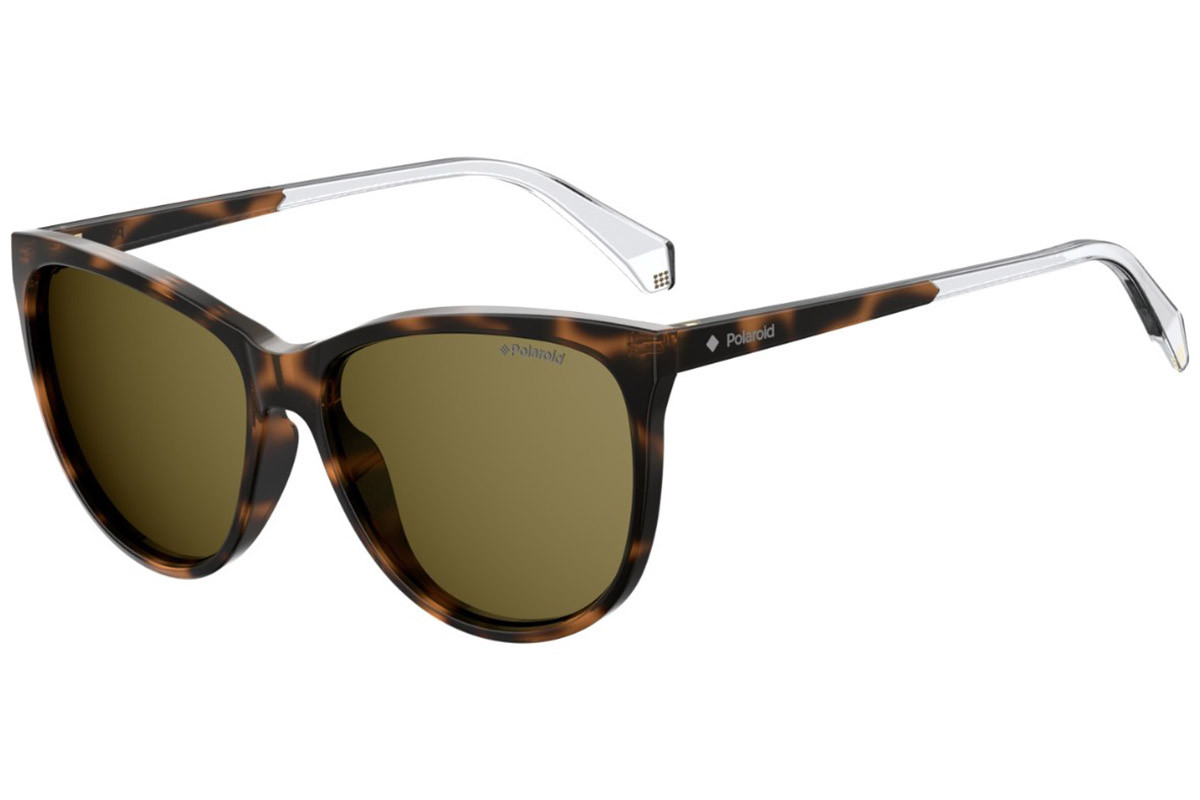 Polaroid PLD4058/S 086/LA Polarized. Frame color: Havana, Lens color: Rjava, Frame shape: Cat Eye