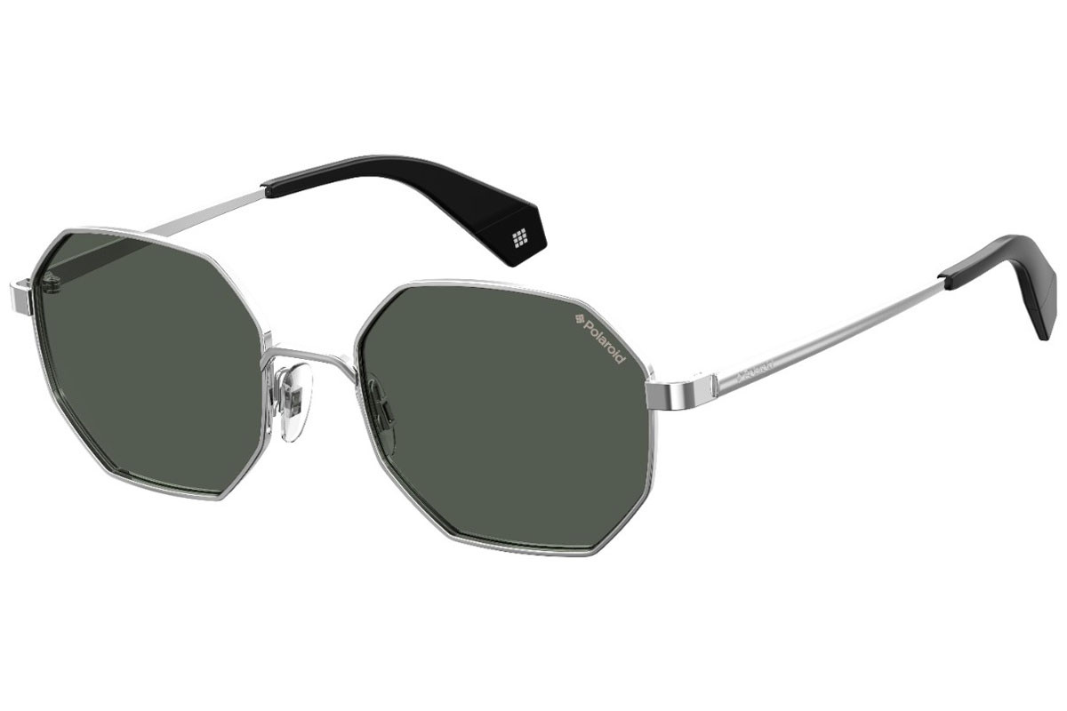 Polaroid #fedezselection Collection PLD6067/S 79D/M9 Polarized. Frame color: Silver, Lens color: Grey, Frame shape: Round