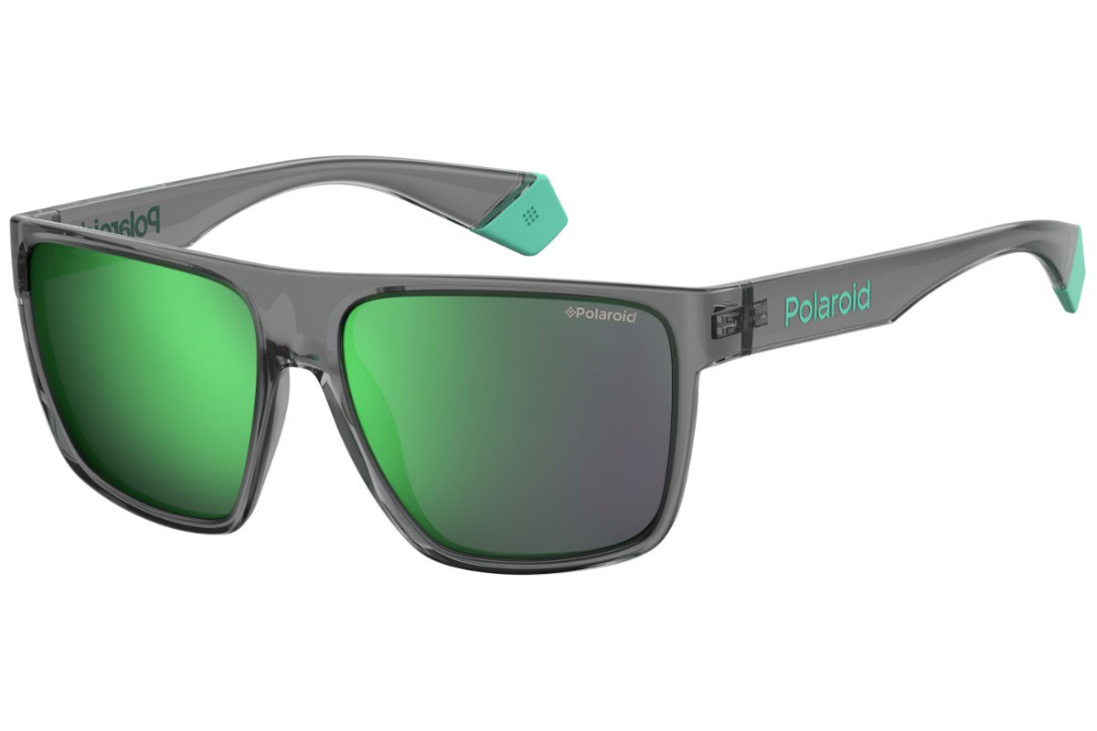Polaroid #fedezselection Collection PLD6076/S KB7/5Z Polarized. Montuurkleur: Grijs, Lenskleur: Groen, Montuurvorm: Flat Top
