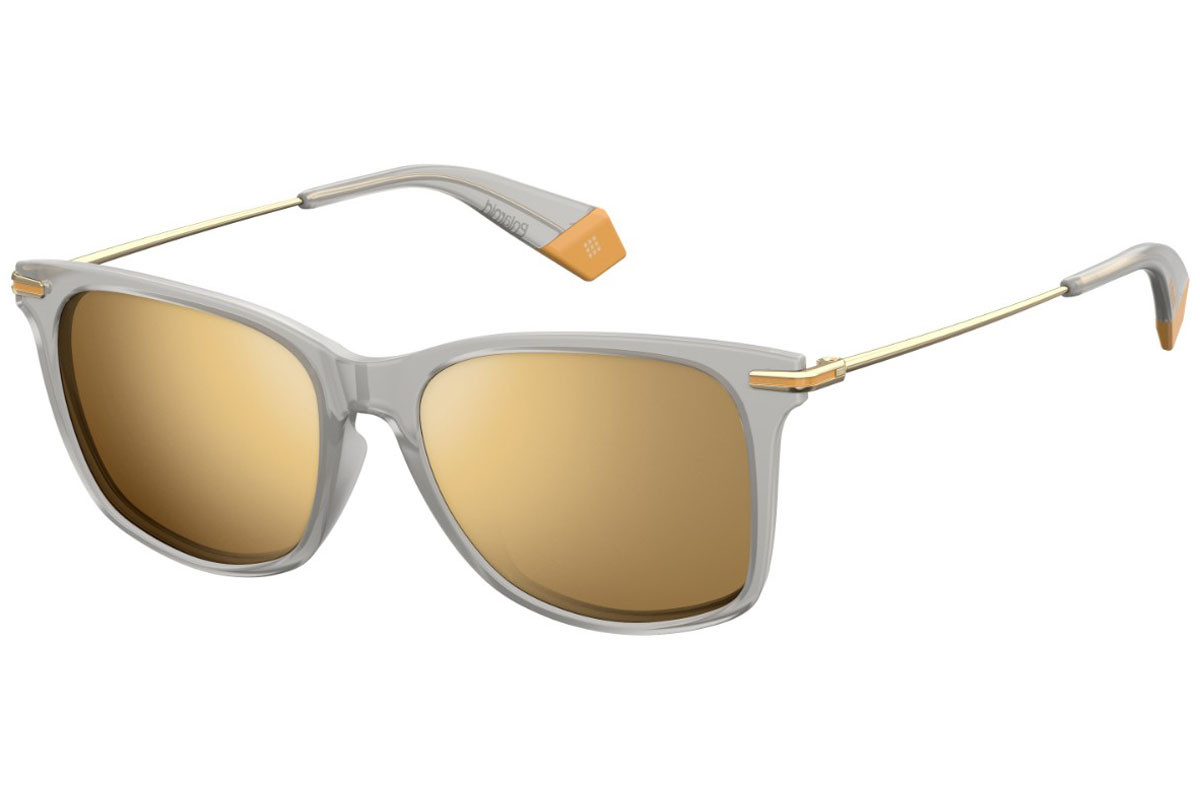 Polaroid PLD6078/F/S RIW/LM Polarized. Frame color: Grey, Lens color: Gold, Frame shape: Squared
