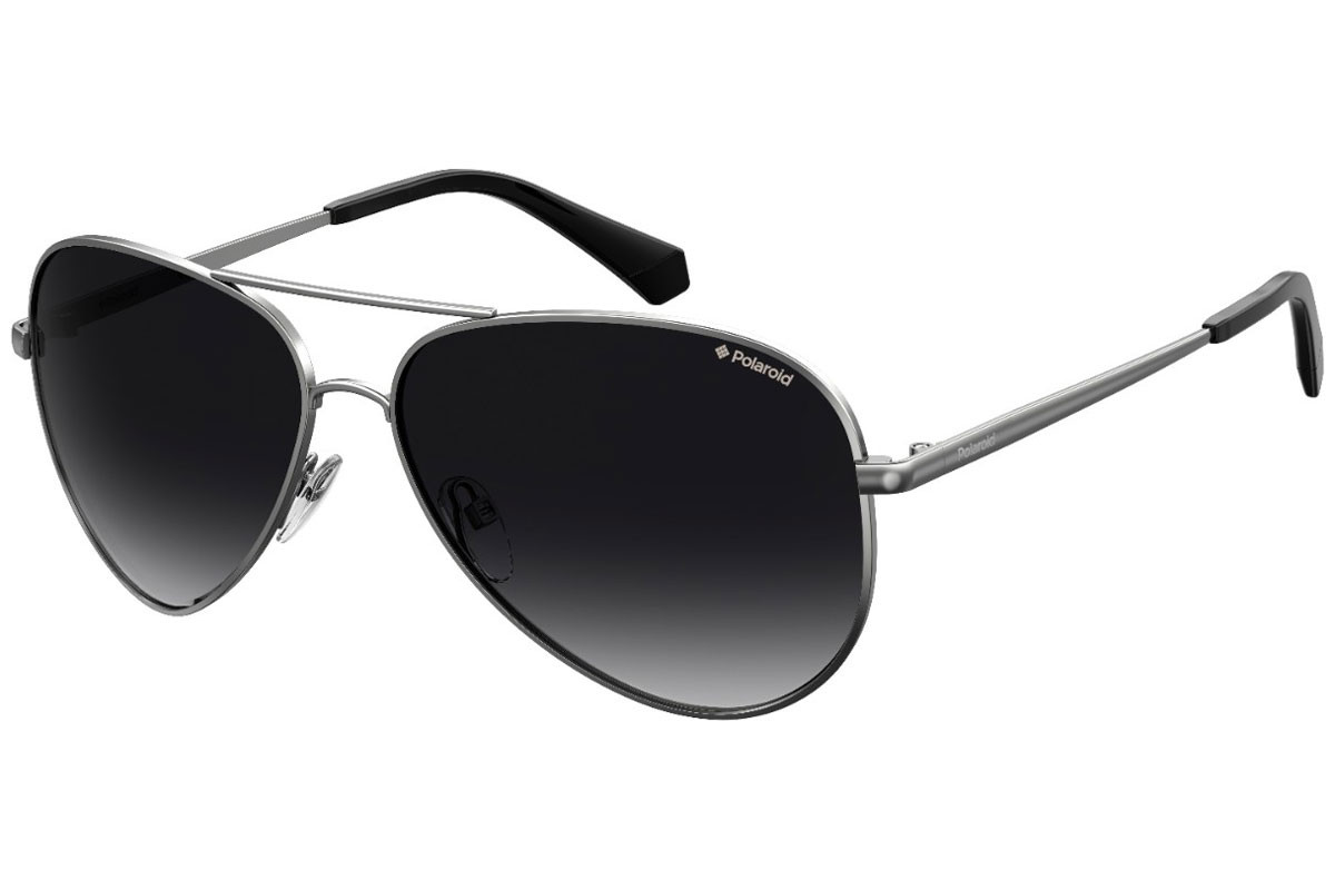 Polaroid PLD6012/N/NEW 6LB/WJ Polarized. Frame color: Silber, Lens color: Grau, Frame shape: Pilot