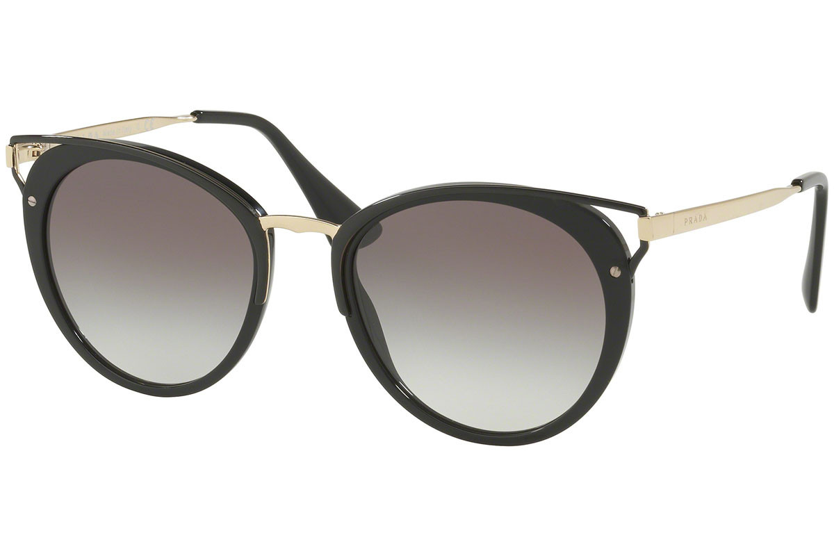 Prada PR66TS 1AB0A7. Frame color: Black, Lens color: Grey, Frame shape: Round