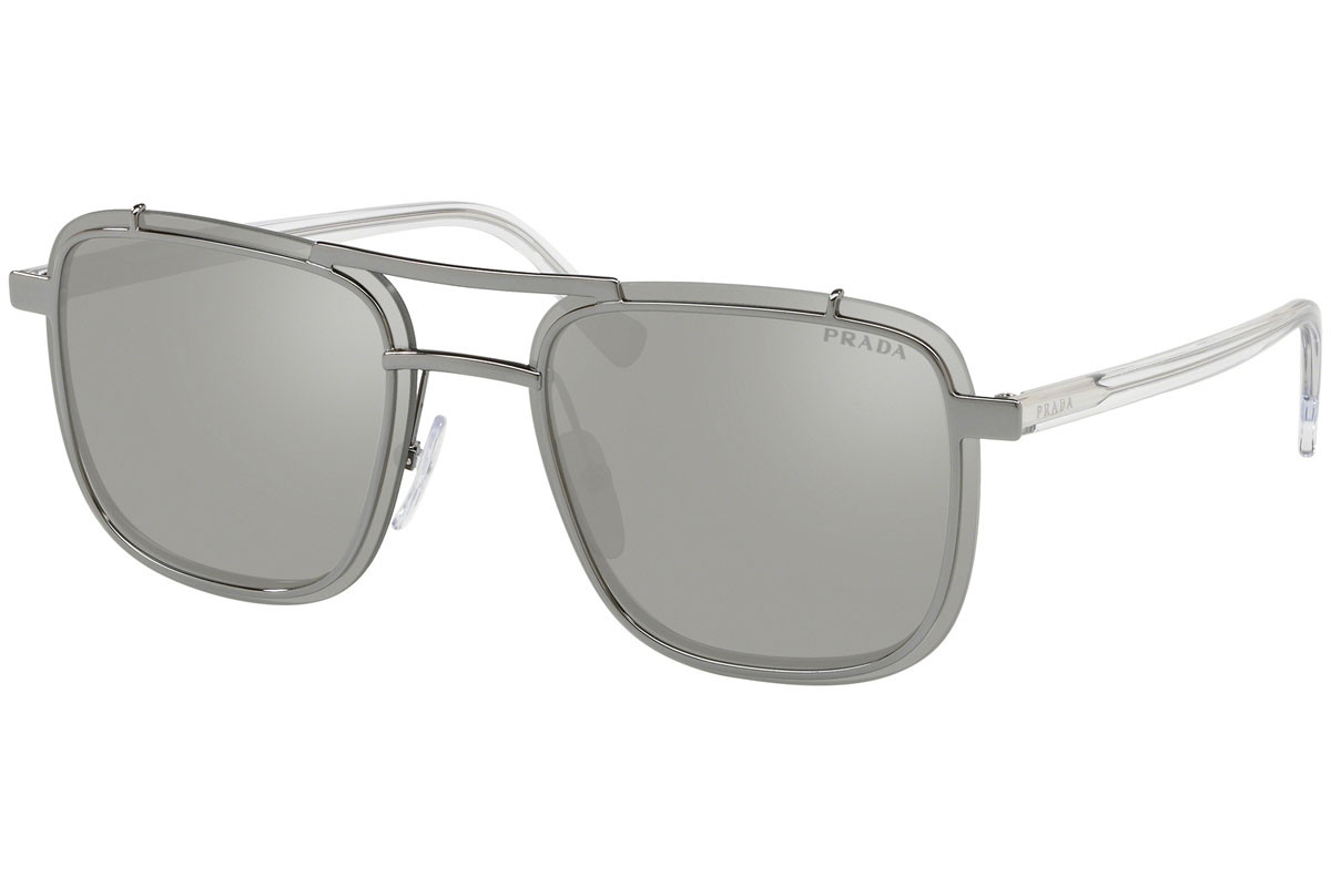 Prada PR59US 5AV197. Frame color: Grey, Lens color: Silver, Frame shape: Pilot