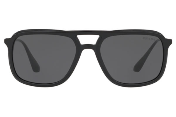Prada PR06VS 1AB1A1. Frame color: Black, Lens color: Grey, Frame shape: Squared