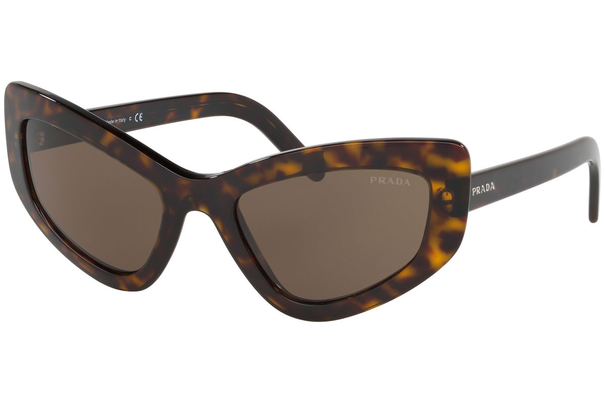 Prada PR11VS 2AU8C1. Frame color: Havana, Lens color: Rjava, Frame shape: Cat Eye