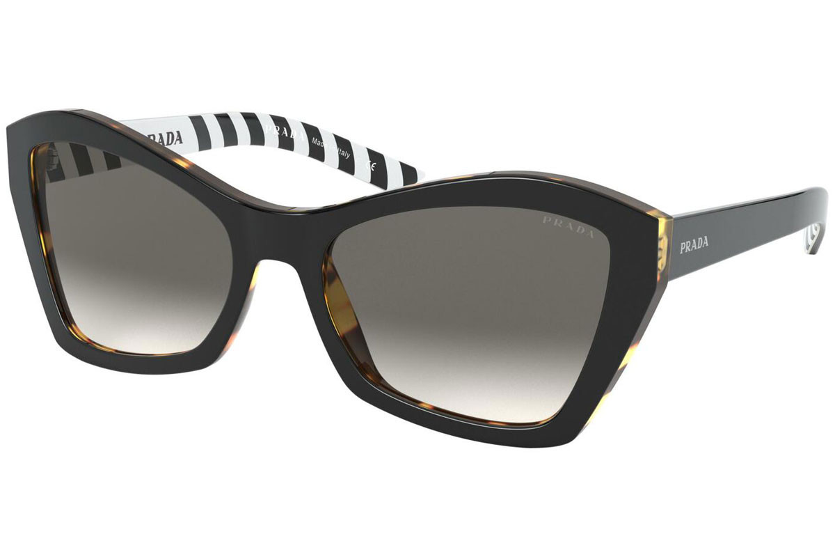 Prada PR07XS NAI130. Frame color: Schwarz, Lens color: Grau, Frame shape: Cat Eye
