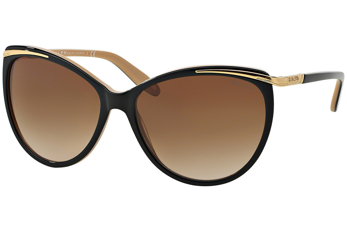 Ralph by Ralph Lauren RA5150 109013. Frame color: Black, Lens color: Brown, Frame shape: Cat Eye
