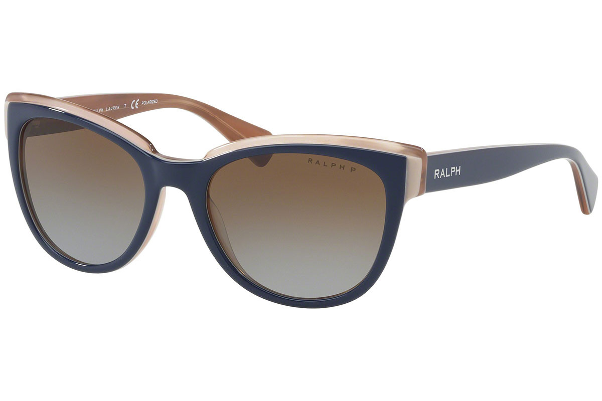 Ralph by Ralph Lauren RA5230 1648T5 Polarized. Frame color: Blue, Lens color: Brown, Frame shape: Cat Eye
