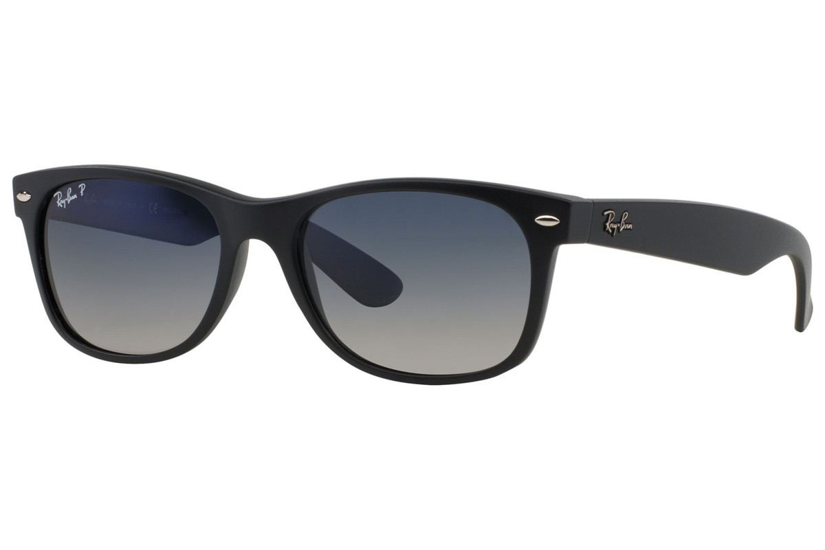 Ray-Ban New Wayfarer Classic RB2132 601S78 Polarized. Frame color: Crni, Lens color: Plavi, Frame shape: Kvadratni