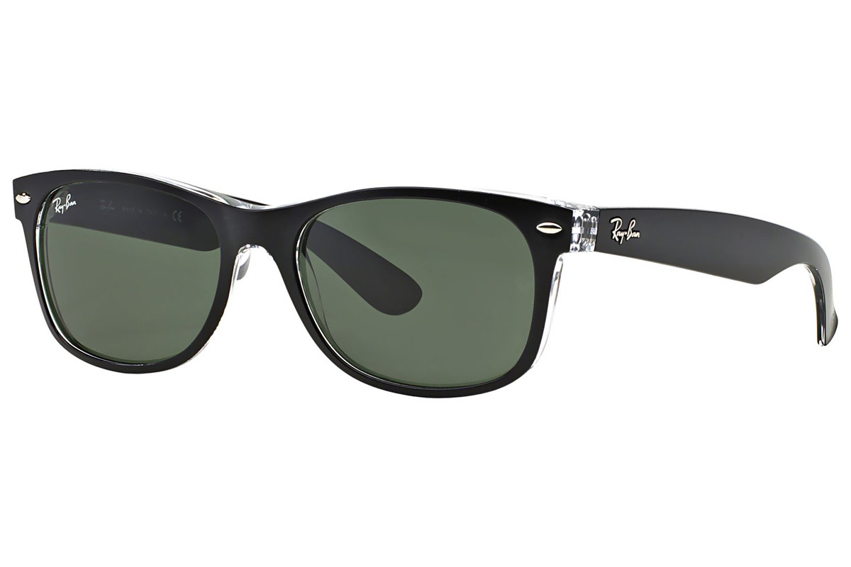 Ray-Ban New Wayfarer Color Mix RB2132 6052. Frame color: Black, Lens color: Green, Frame shape: Squared