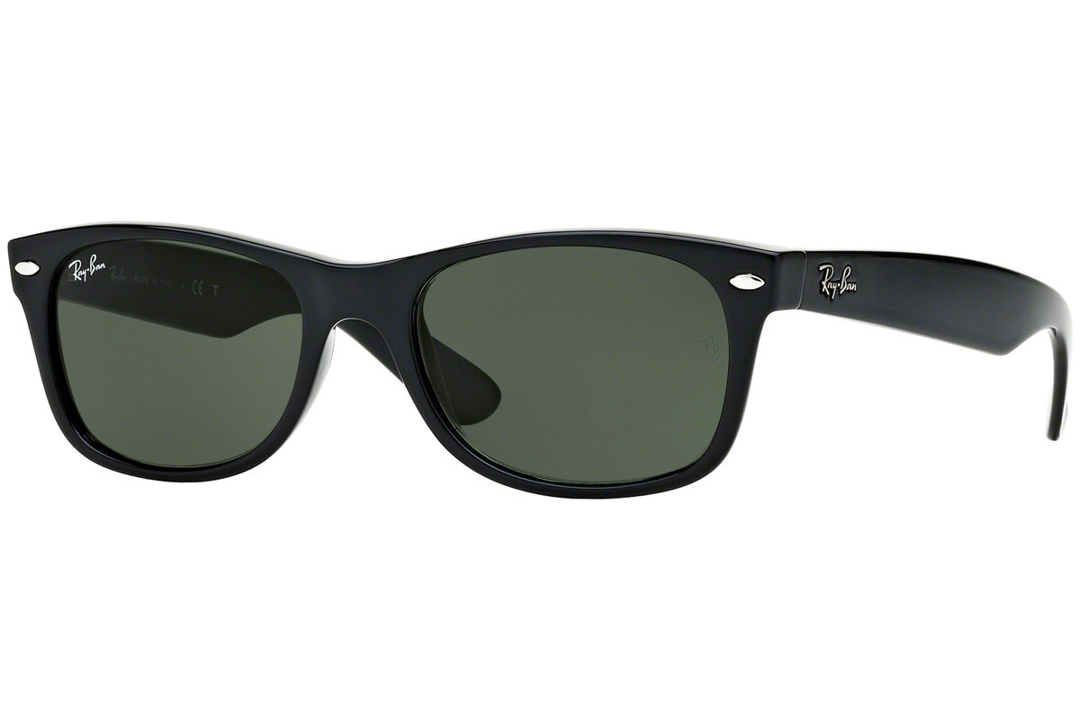 Ray-Ban New Wayfarer Classic RB2132 901. Frame color: Schwarz, Lens color: Grün, Frame shape: Quadratisch