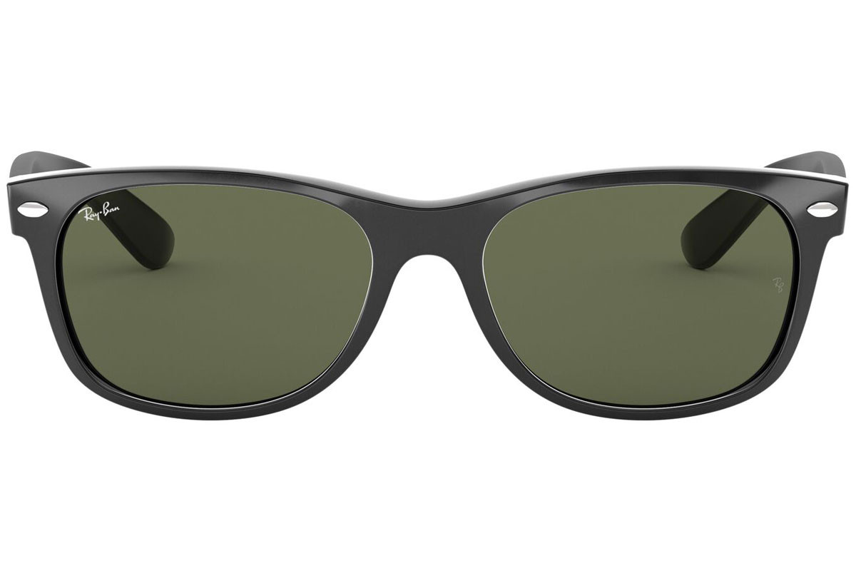 Ray-Ban New Wayfarer Classic RB2132 901L. Frame color: Crni, Lens color: Zeleni, Frame shape: Kvadratni